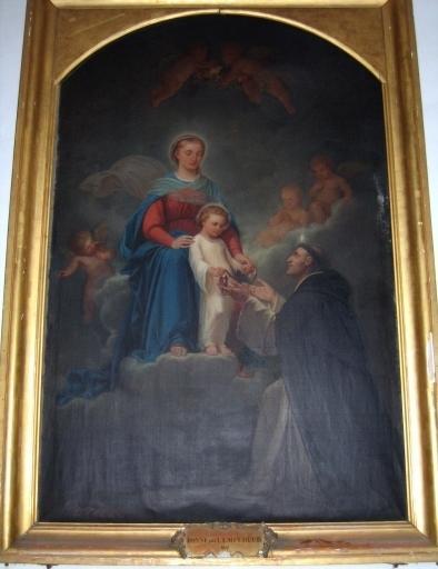 Tableau : L'Institution du Rosaire, saint Dominique recevant le rosaire des mains de la Sainte Vierge et de l'Enfant Jésus