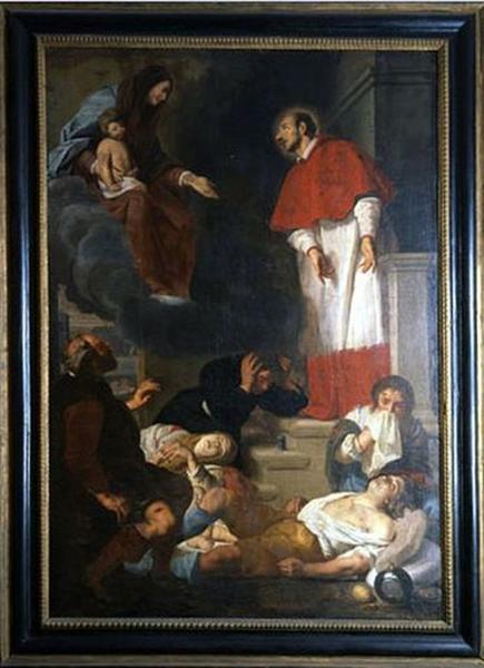 Tableau : Saint Charles Borromée intercédant pour les pestiférés (Apparition de la Vierge à Charles Borromée pendant la peste de Milan)