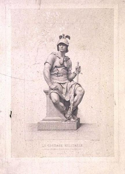 Estampe : Le Courage militaire, statue du monument du général de La Moricière