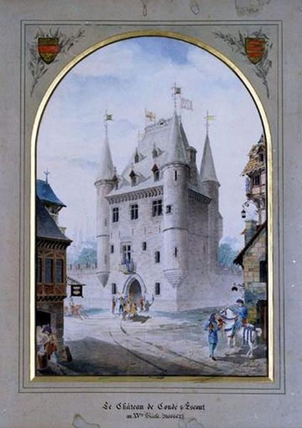 Tableau : Le Château de Condé-sur-Escaut au XVeme siècle (Le Château de Bailleul au XVeme siècle)