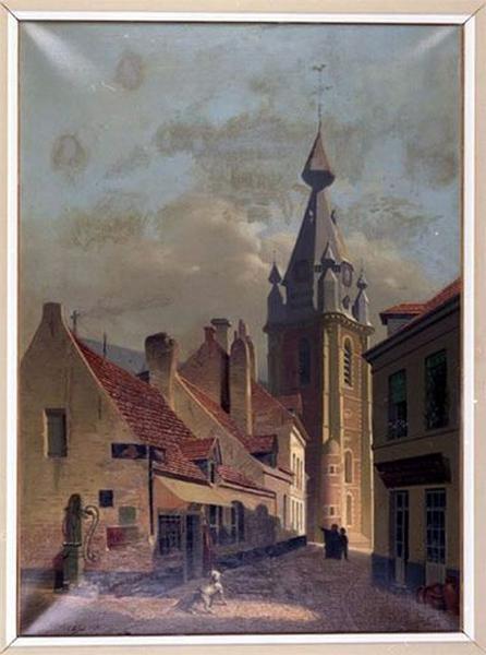Tableau : La Rue Clairon et le clocher de l'église