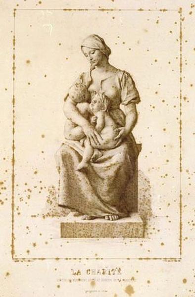 Estampe : La Charité, statue du monument du général de La Moricière