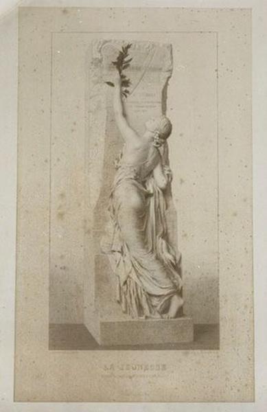 Estampe : La Jeunesse, statue du monument d'Henri Regnault