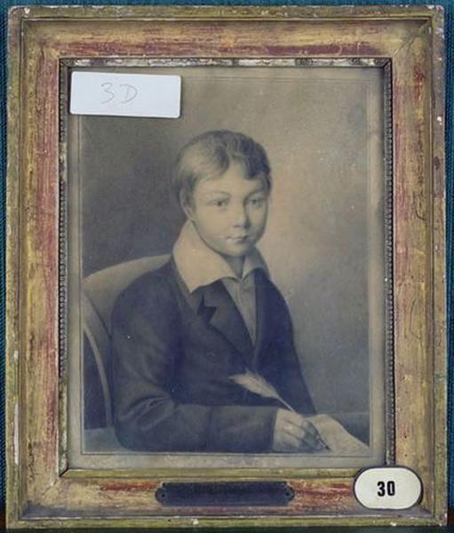 Dessin : Portrait de jeune garçon écrivant