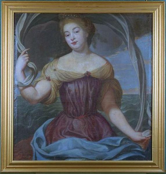 Tableau en dessus-de-porte : Portrait de femme en Amphitrite ou en Vénus (?)