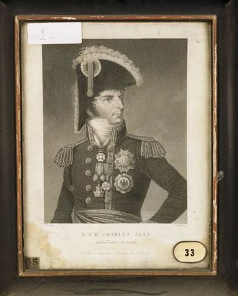 Estampe : Portrait de Charles Jean, prince royal de Suède (Bernadotte, Charles XIV)