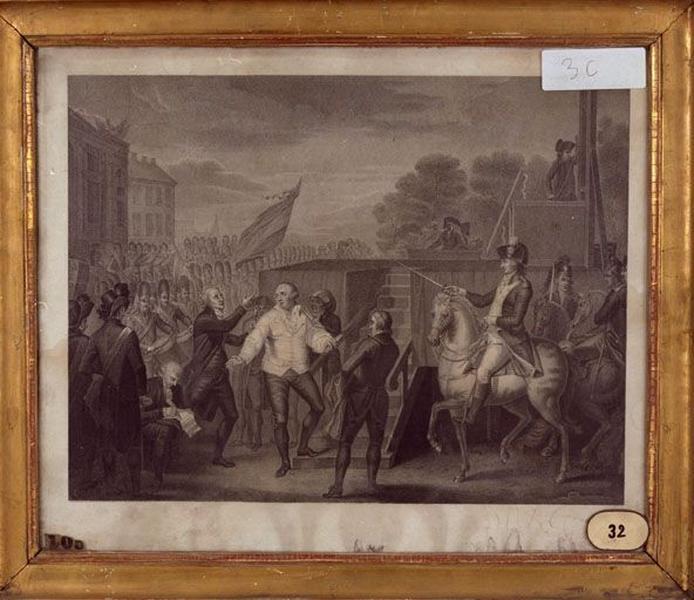 Estampe : Louis XVI et l'abbé Edgeworth de Firmont au pied de l'échafaud, le 21 janvier 1793 (L'Exécution de Louis XVI)
