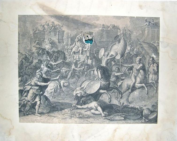 Estampe : La Bataille d'Arbelles (La Bataille de l'Oxus)