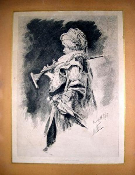 Estampe : Portrait de composition en soldat mauresque