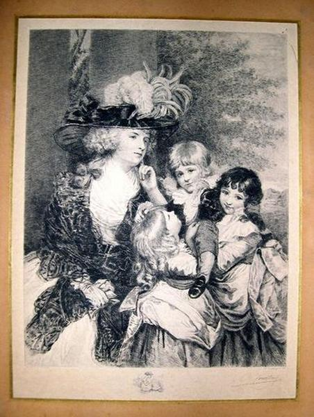Estampe : Portrait de femme et de ses trois enfants
