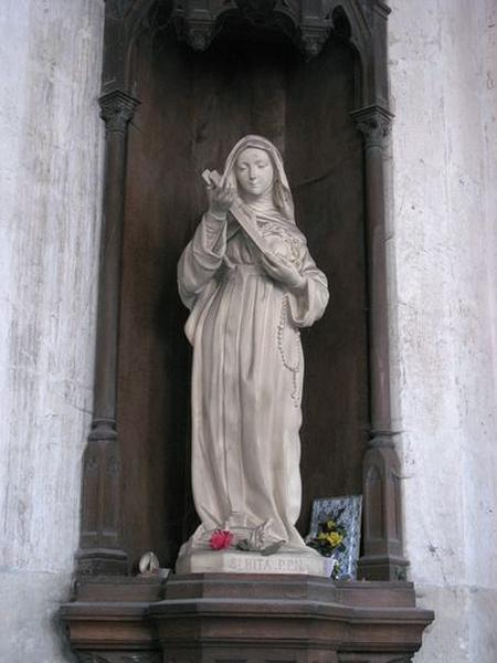 Ensemble de 2 statues : sainte Rita, Immaculée Conception