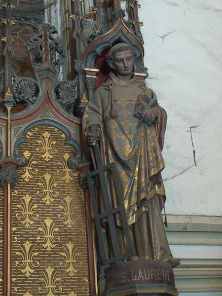 Ensemble de 3 statues : sainte Brigitte, saint Joseph, saint Laurent