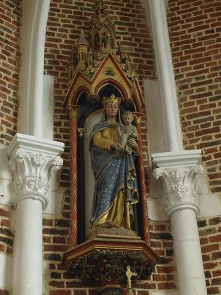 Statue, avec dais d'architecture et console d'applique : Vierge à l'Enfant