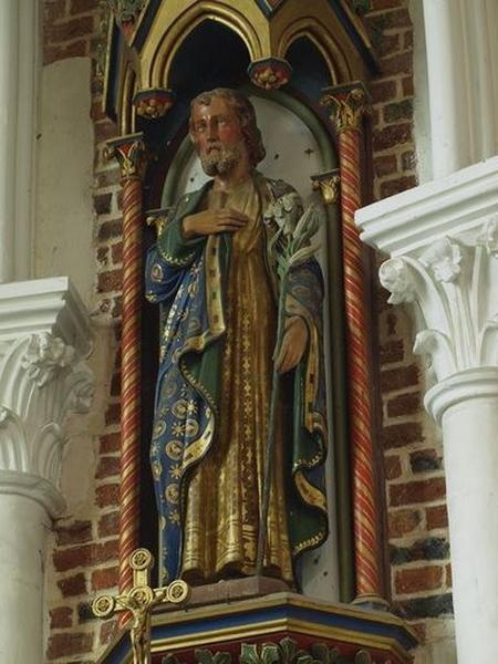 Statue, avec dais d'architecture et console d'applique : saint Joseph