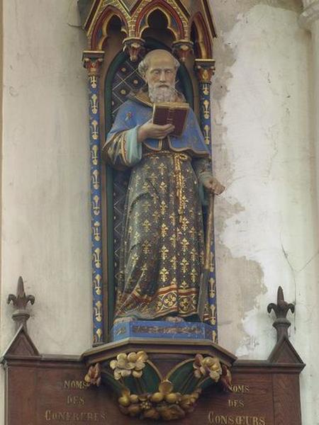 Deux tableaux de confrérie, statues de saint Fiacre et saint Corneille sur consoles et sous dais d'architecture