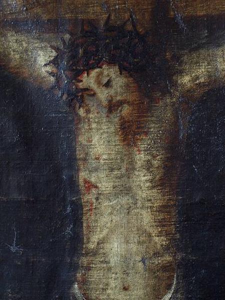 Tableau : Crucifixion avec moine pénitent