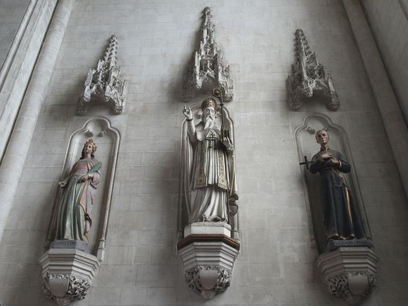 Ensemble de 3 statues : sainte Apolline, saint Omer, saint Gérard Majella