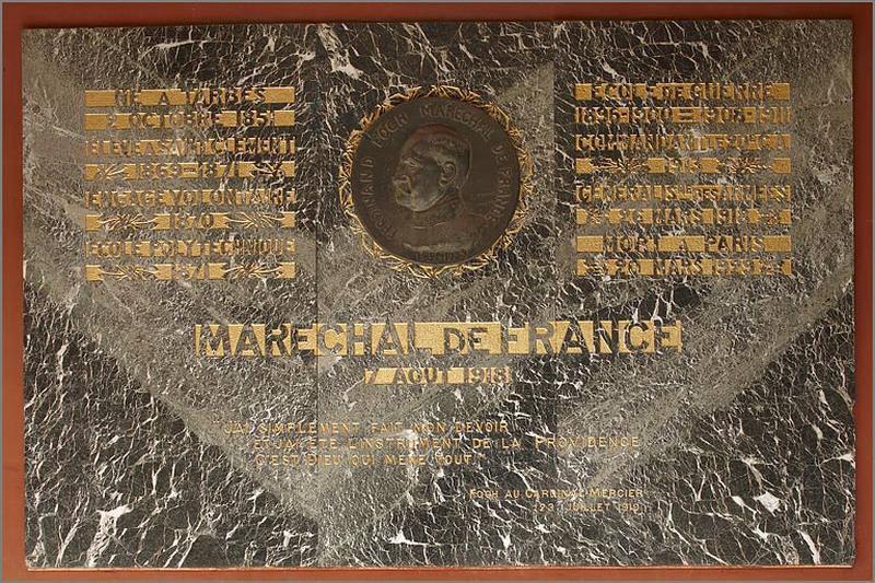 plaque commémorative du maréchal Foch