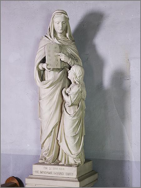 groupe sculpté : sainte Anne montrant les tables de la Loi à la Vierge