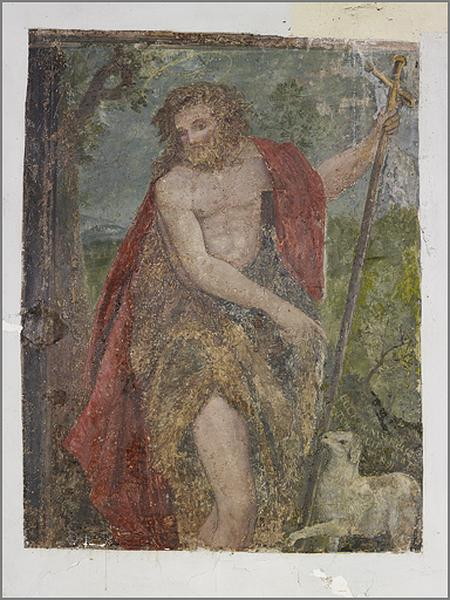 Ensemble de 2 peintures murales : saint Jean Baptiste, saint Claude