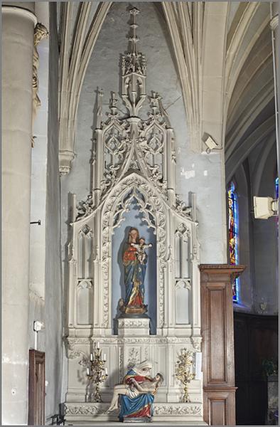 ensemble de 2 autels secondaires de style néo-gothique de la Vierge et de saint Joseph