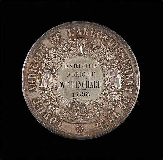 Ensemble de 2 médailles de comice agricole : Toul, avec 1 écrin