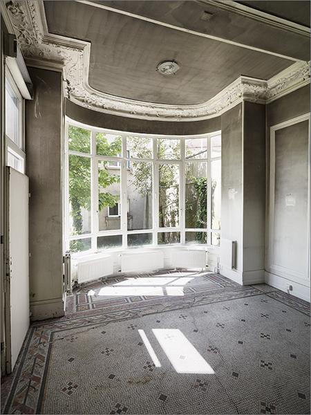 Ensemble du décor intérieur du jardin d'hiver : plafond ; revêtement de sol ; porte