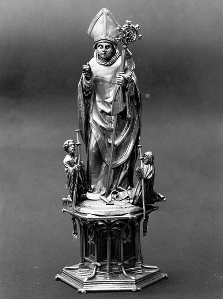 Statue-reliquaire : saint Thiébaut de Thann et deux pèlerins