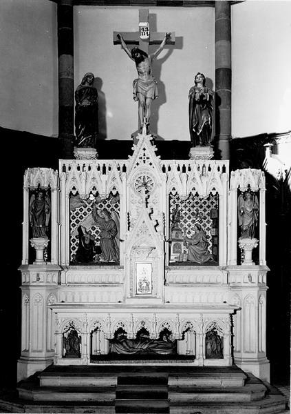 autel, retable, tabernacle, gradin d'autel, statues (5), hauts-reliefs (5) (maître-autel, autel tombeau)