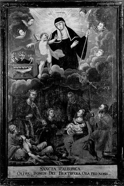 Tableau : Apparition de sainte Walburge d'Eichstatt à un groupe de malades