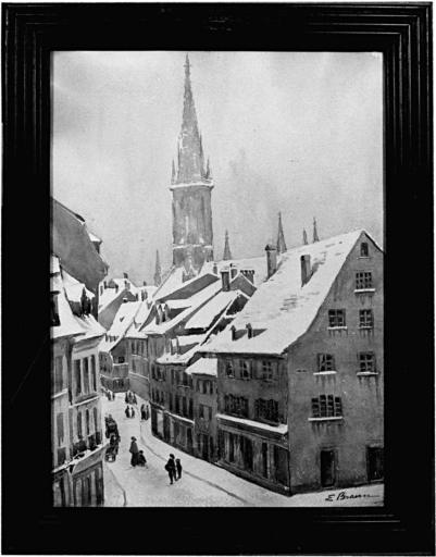 Dessin : vue de la rue des tanneurs à Mulhouse