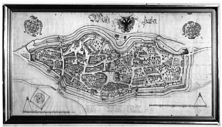 plan : vue à vol d'oiseau de la ville de Mulhouse, dit plan de Berne