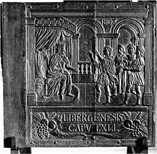 Plaque de poêle : Joseph interprétant le songe du pharaon