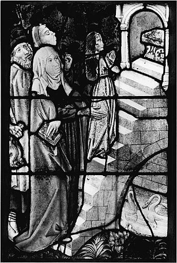 verrière figurée : Vie de la Vierge ; enfance et vie publique du Christ (baie 1)