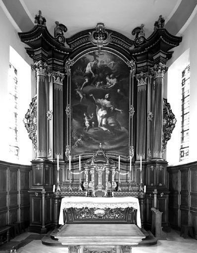 Autel, gradin d'autel, retable, 6 chandeliers d'autel, tableau (maître-autel) : Martyre et glorification de sainte Barbe