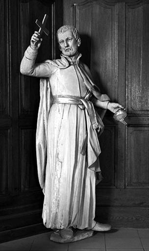 3 statues, groupe sculpté : saint François Xavier, saint Ignace de Loyola, saint Charles Borromée ?, saint Joseph et l'Enfant Jésus