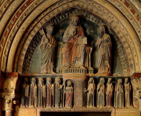 Portail, tympan : les Christ entre saint Pierre et saint Paul, vierges sages et les vierges folles