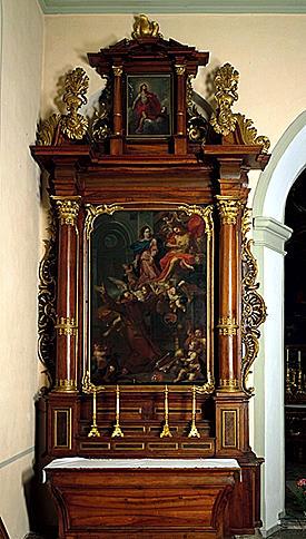 2 autels, 2 retables (autels secondaires), de la Vierge, de saint Antoine de Padoue