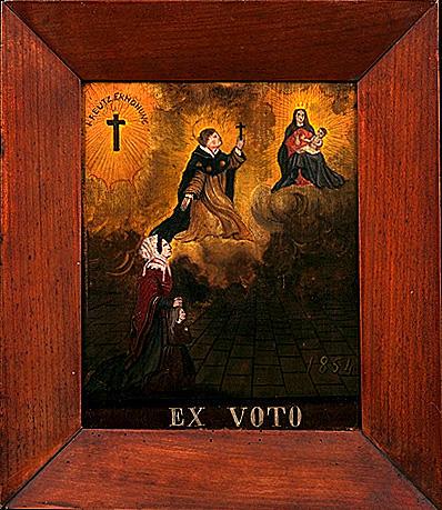Ex-voto, tableau : Vierge à l'Enfant avec saint Jacques, une femme et un enfant
