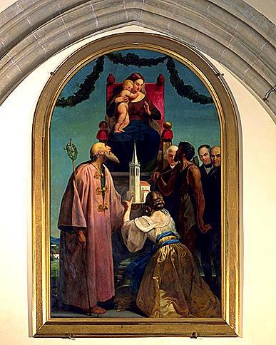 tableau : Offrande de l'église à la Vierge