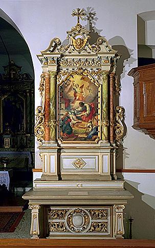 2 autels, 2 retables (autels secondaires), de la Vierge, de saint Joseph