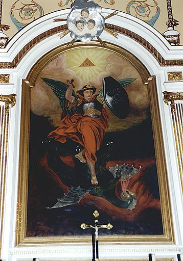Tableau du maître-autel : saint Michel terrassant le dragon