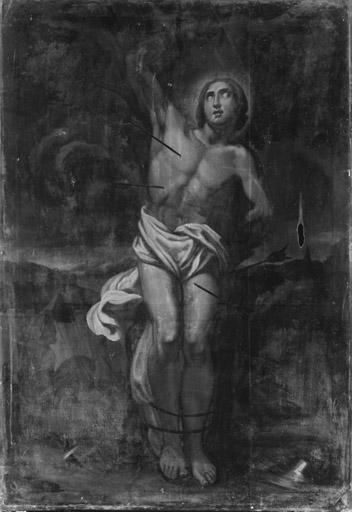 ensemble de 2 tableaux : le Martyr de saint Sébastien et la Remise du rosaire à saint Dominique par la Vierge à l'Enfant