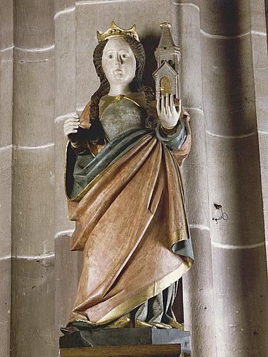 statues : sainte Agnès, sainte Barbe, saint Benoît, sainte Walburge