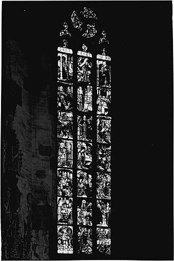 Verrière figurée : Vie de la Vierge, enfance et vie publique du Christ (Baie No 1)