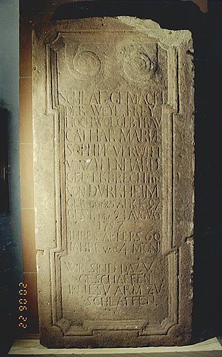 Dalle funéraire de Catherine Marie Sophie von Zyllnhard