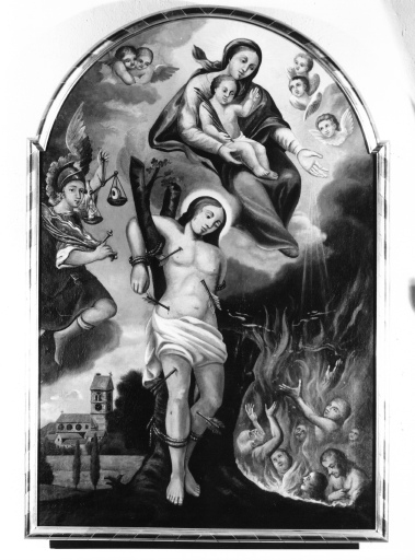 Tableau : La Vierge à l'Enfant, Saint Sébastien et Saint Michel invoqués par les âmes du Purgatoire