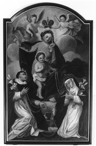 Tableau : La Vierge et l'Enfant remettant le Rosaire à Saint Dominique et Sainte Catherine de Sienne