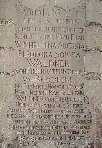 Plaque funéraire de W. A. E. S. von Waldner von Freundstein