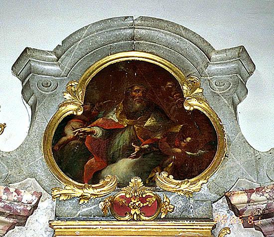 4 tableaux d'autel : Remise du Rosaire à saint Dominique et sainte Catherine de Sienne par la Vierge à l'Enfant, sainte Agathe, saint Michel pesant les âmes, saint Erasme